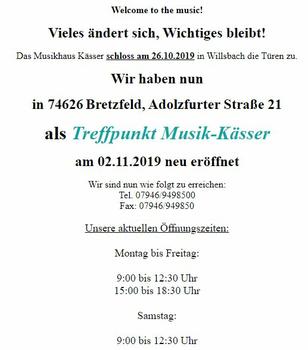Aktuelle Broschüre von Treffpunkt Musik-Kässer